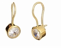 Shepherd 1 Carat Round Cubic Zirconia Bezel Set Wire Hook Earring Drops