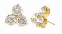 Chloe Triple 1 Carat Cubic Zirconia Round Shared Prong Set Stud Earrings