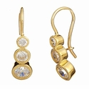 Trio Graduated Cubic Zirconia Bezel Set Three Stone Round Wire Earrings