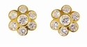 Flora Bezel Set Cubic Zirconia Round Flower Stud Earrings