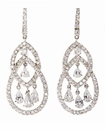 Fontaine Pave Round Cubic Zirconia Basket Set Pear Drop Chandelier Earrings