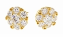 Gato Cubic Zirconia Round Cluster Stud Earrings