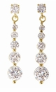 Journey Graduated Post Set Cubic Zirconia Round Dangle Drop Earrings