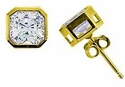 Luccia 1 Carat Cubic Zirconia Princess Cut Bezel Set Stud Earrings