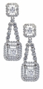 Fortuna Double Halo Cubic Zirconia Princess Cut Drop Earrings