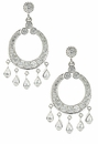 Chandara Chandelier Style Cubic Zirconia Pear and Round Drop Earrings