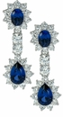 Biltmore Estate Style Lab Created Sapphire Oval Cubic Zirconia Pear Halo Earring Drops