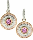 Cleopatra Pink Cubic Zirconia 1 Carat Round Rose Gold Double Halo Drop Earrings