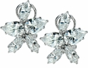 Malibu Pear Marquise Cubic Zirconia Omega Clip Cluster Earrings