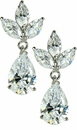 Fionna Triple Marquise Pear Cubic Zirconia Estate Style Drop Earrings