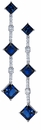 Moderno Lab Created Sapphire Cubic Zirconia Princess Cut Graduated Drop Earrings