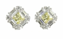 Quatro 1 Carat Princess Cut Halo Stud Earrings