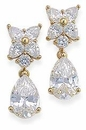 Cluster Top 4 Carat Pear Cubic Zirconia Drop Earrings