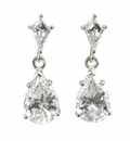 Kite Drops 2 Carat Cubic Zirconia Pear Art Deco Style Earrings
