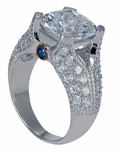 Feodora 4 Carat Cushion Cut Cubic Zirconia Pave Split Shank Engagement Ring