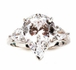Jessica 4 Carat Pear Cubic Zirconia Three Stone Solitaire Engagement Ring