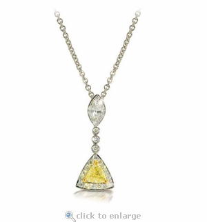 Trimara Cubic Zirconia Trillion and Marquise Halo Drop Necklace