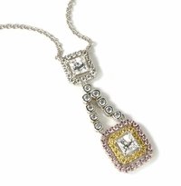 Fortuna .75 Carat Princess Cut Double Halo Drop Necklace