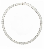 Parisian 1 Carat Each Princess Cut Cubic Zirconia Tennis Necklace