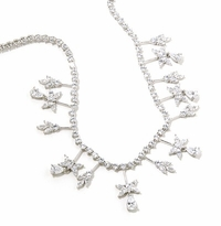 Christalisis Pear Marquise Round Cubic Zirconia Statement Tennis Necklace