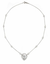 Astor 8 Carat Pear Center Cubic Zirconia Halo Station Necklace