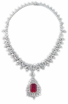 Tikrana Lab Created Ruby Emerald Cut Halo Cubic Zirconia Drop Statement Necklace