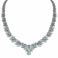Versailles 3 Carat Pear Drop Cubic Zirconia Cluster Statement Necklace