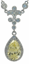 Embassy 3 Carat Pear Cubic Zirconia Drop Necklace