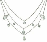 Tahlia Three Strand Pear and Round Cubic Zirconia Necklace
