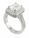 4 Carat Elegant Emerald Cut Cubic Zirconia Halo Pave Cathedral Solitaire Engagement Ring