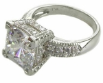 Decadence 5.5 Carat Cushion Cut Cubic Zirconia Pave Solitaire Engagement Ring