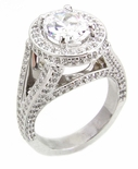 TomKat 1.5 Carat Oval Cubic Zirconia Pave Halo Split Shank Solitaire Engagement Ring