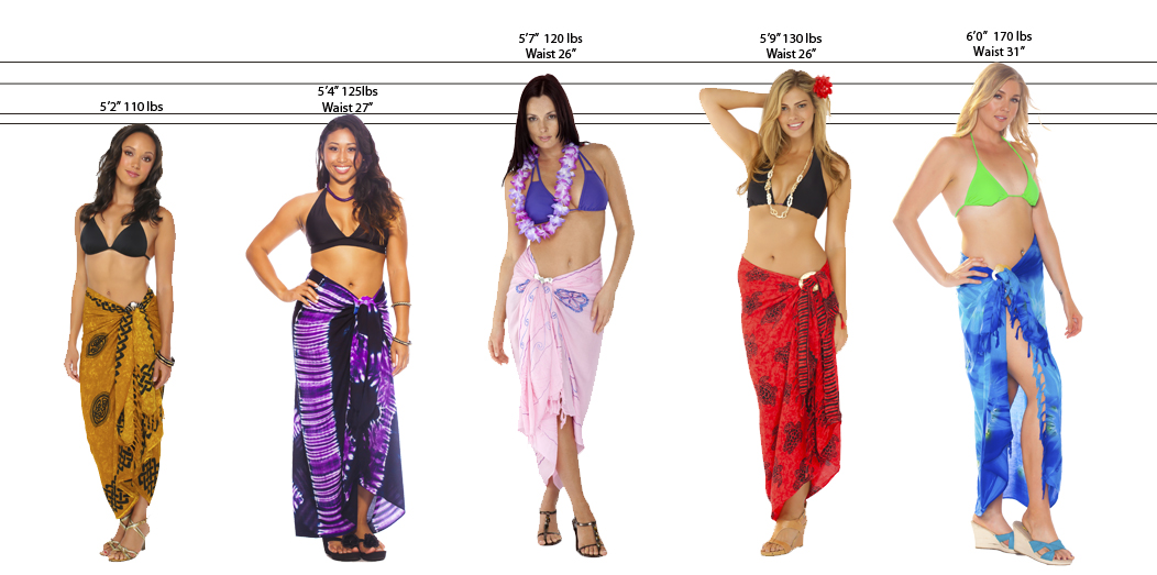 Sarongs. Sarongs are great accessories that provide a little extra coverage during bathing suit season. These simple yet elegant lengths of fabric tie around the waist over a swimsuit, making them a fashionable alternative to wrapping oneself with a beach towel. Dotti makes classic sarongs in both regular and plus sizes.