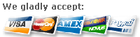 We accept Visa, Mastercard, American Express, Discover, and PayPal.