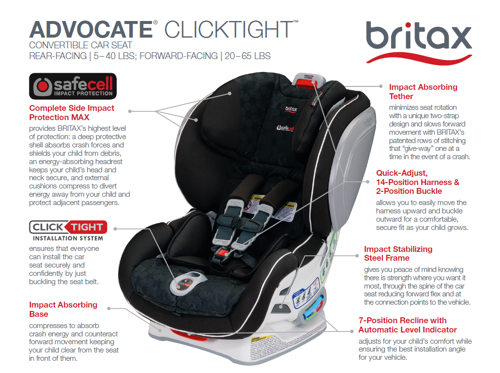 It Easy For You To Bring Your Child Along In Maximum Safety And Comfort The Advocate ClickTight Is Quite Simply Britaxs Best Convertible Car Seat Yet