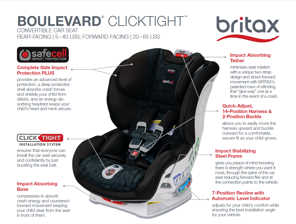 Convenient Comfortable And Designed For Superior Safety The Boulevard ClickTight Convertible Car Seat Is An Exceptional Choice Getting