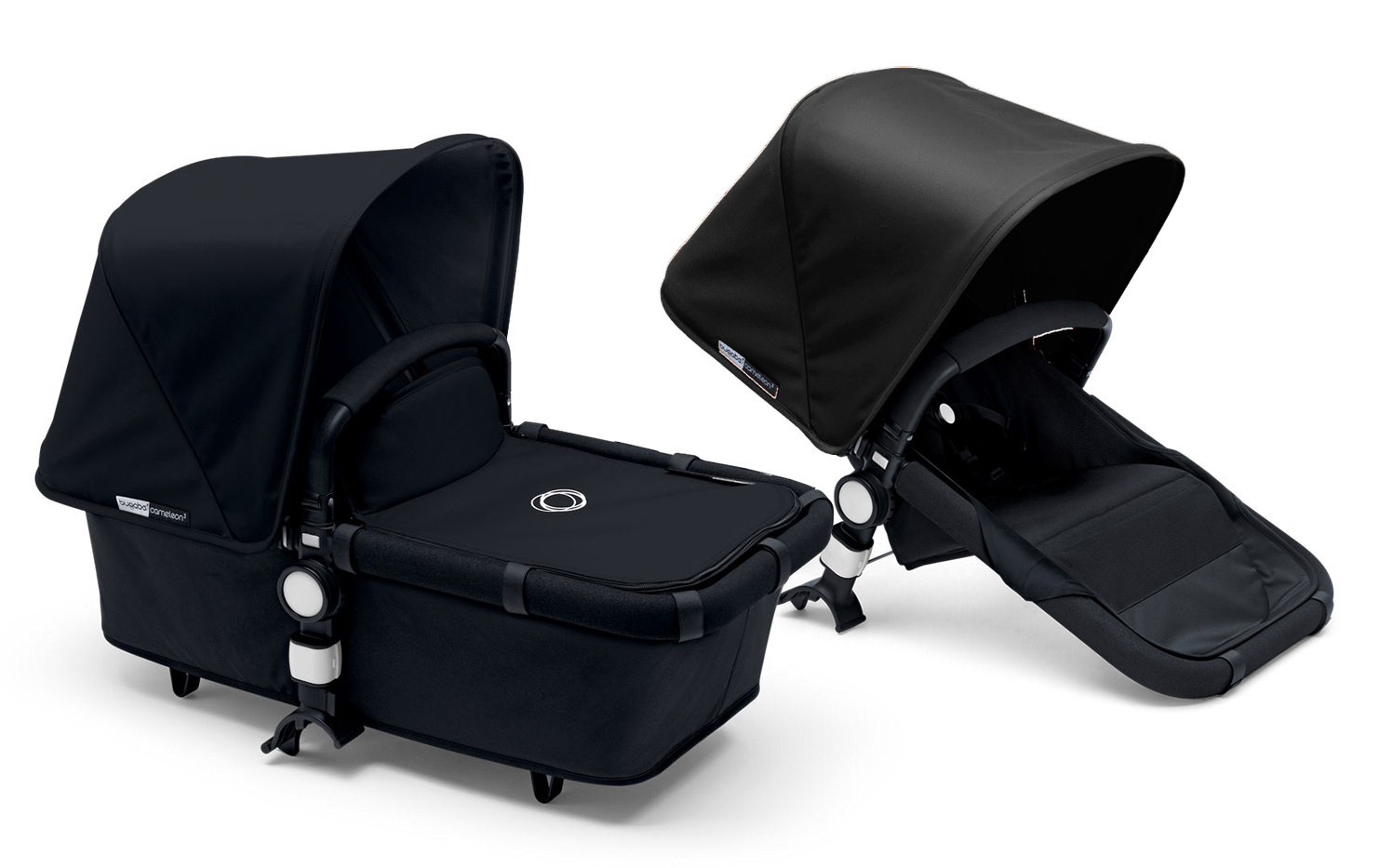 bugaboo 2015 cameleon 3 stroller all black grey melange. Black Bedroom Furniture Sets. Home Design Ideas