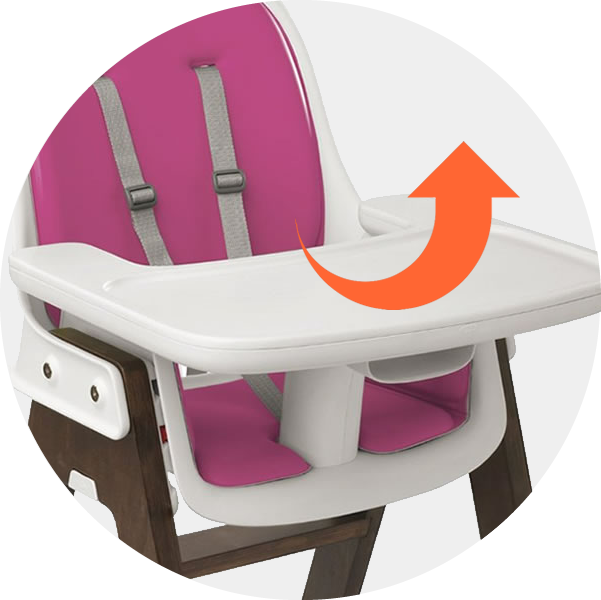 Removable tray allows baby to sit at the table