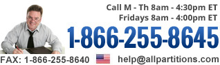 Call us at 1-866-255-8645 M - Th 8a - 5p ET, Fri 8a - 4p ET. Fax: 1-866-255-8640. help@allpartitions.com