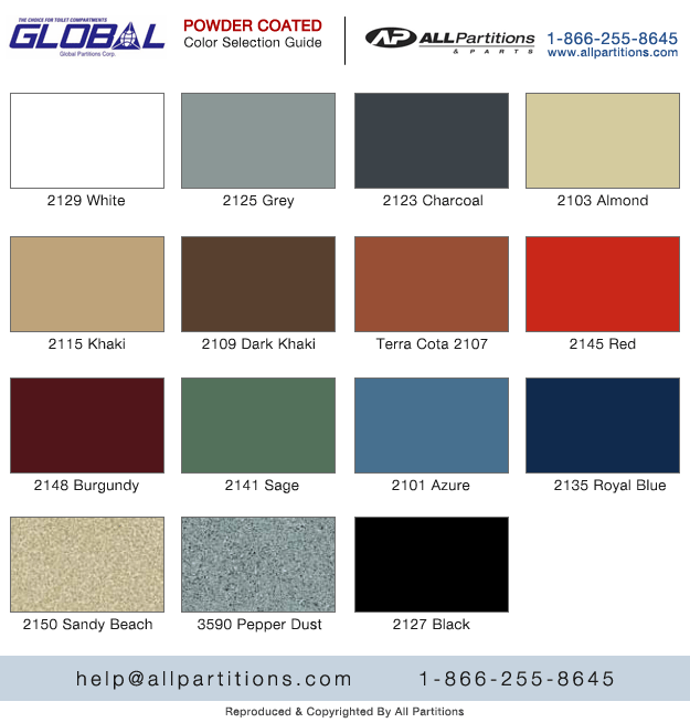 Bathroom Partitions Paint powder coated metal colors chart | all partitions