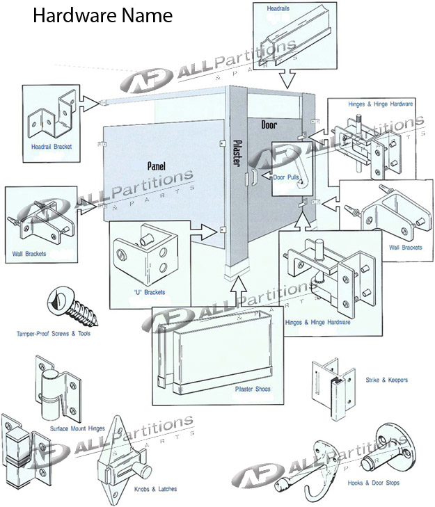 toilet partitions hardware all manufacturers - Bathroom Stall Parts