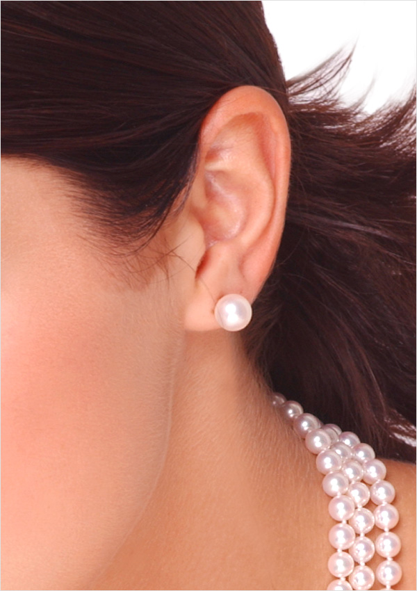 9mm Anese Akoya Cultured Pearl Stud Earring