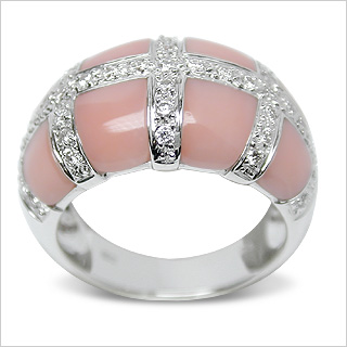Cassendra a Pink Coral and Diamond Ring American Pearl