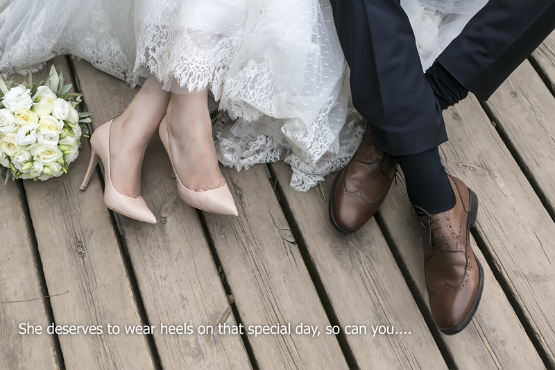 she deserve to wear heel on wedding date, so can you