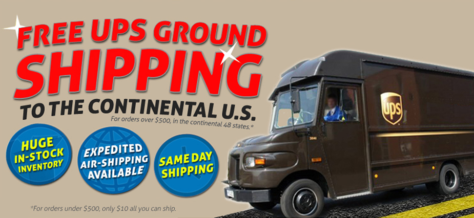 Free UPS Ground Shipping to the Continental US.