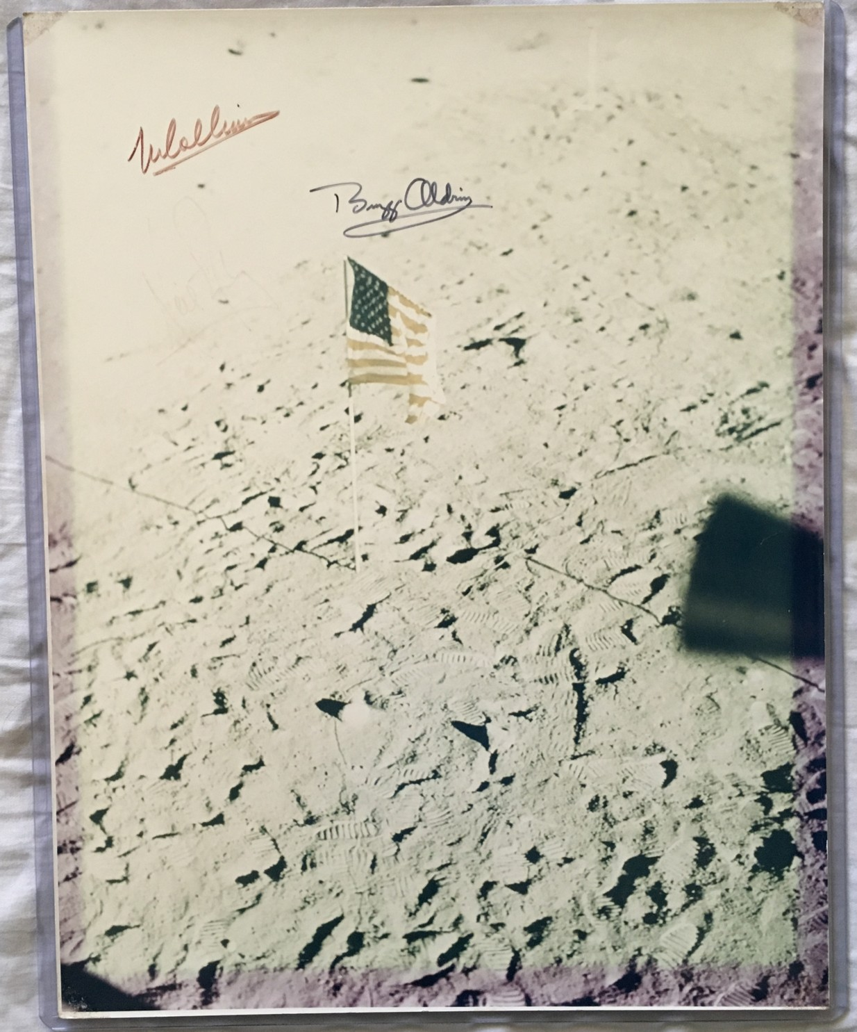 Apollo 11 autographed 11x14 photo (faded)