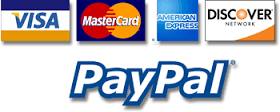 Acceptable forms of payment include Visa, MasterCard, AMEX, Discover and PayPal