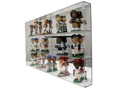 Bobblehead Cases Are Made Of   Thick Acrylic Shelves Plexiglass And   Top Bottom And Sides Except For The Backs Which Are Made Of Acrylic
