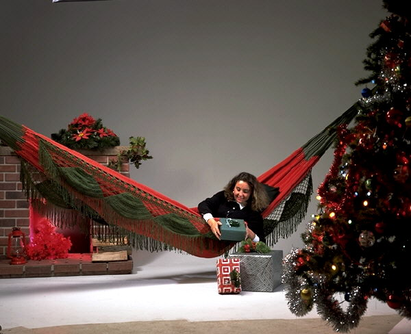 Red/Green Holiday Family Nicamaka® Hammock.
