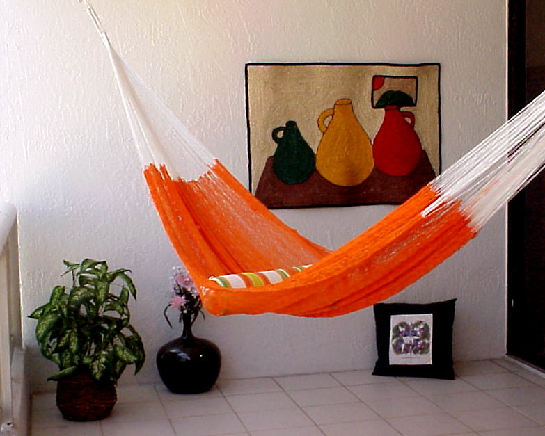 Bright Orange Mayan Hammock